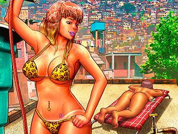 Sunbathing on the roof - Brazilian Slumdogs